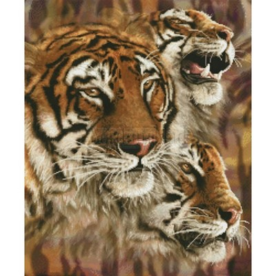 Borduurblad productfoto Patroon XX - Wild Nature 'The Tigers'
