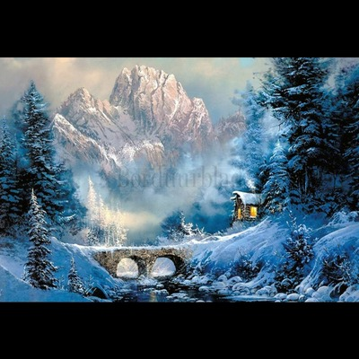 Borduurblad productfoto Diamond Embroidery kit Winterlandschap (70 x 48 cm)