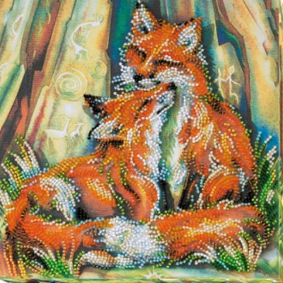 Borduurblad productfoto AbrisArt Bead Embroidery- Small Foxes