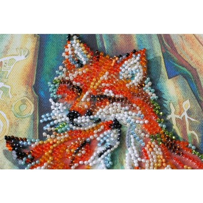 Borduurblad productfoto AbrisArt Bead Embroidery- Small Foxes 2