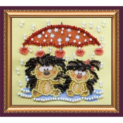 Borduurblad productfoto AbrisArt Bead Embroidery-Hedgehogs under an umbrella