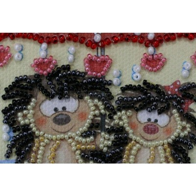 Borduurblad productfoto AbrisArt Bead Embroidery-Hedgehogs under an umbrella 2