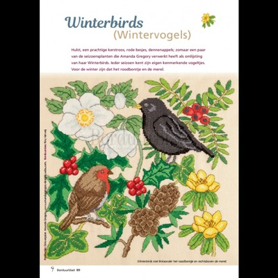 Borduurblad productfoto Patroon Winterbirds (Wintervogels)