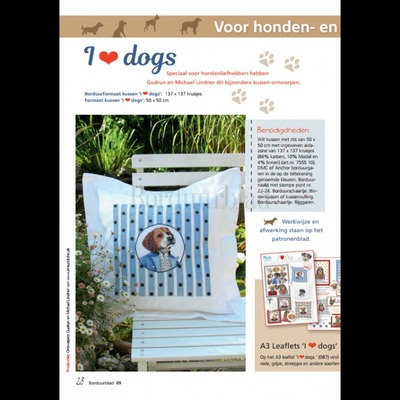 Borduurblad productfoto Patroon I love Dogs & I love Cats