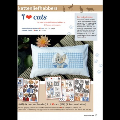 Borduurblad productfoto Patroon I love Dogs & I love Cats 2