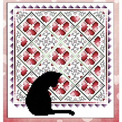 Borduurblad productfoto Cats & Quilts February- patroon