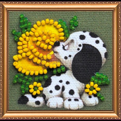 Borduurblad productfoto AbrisArt Bead Embroidery Puppy (AMM-056)