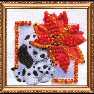 Borduurblad productfoto AbrisArt Bead Embroidery Scarlet Flower (AMM-054)