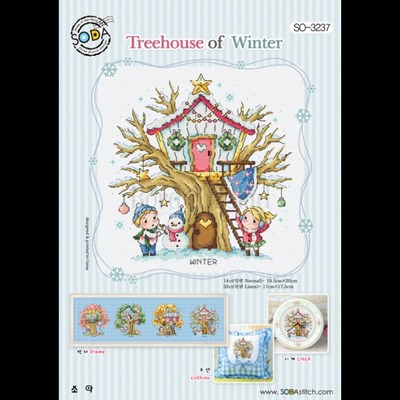 Borduurblad productfoto Borduurpatroon Soda Stitch Treehouse of Winter