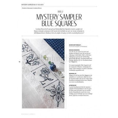 Borduurblad productfoto Patroon Mystery Sampler Blue Squares (Deel 2)