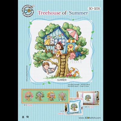 Borduurblad productfoto Borduurpatroon Soda Stitch Treehouse of Summer