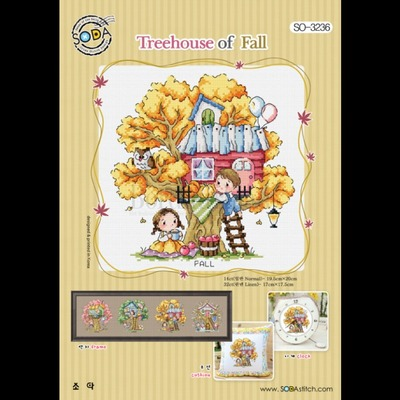 Borduurblad productfoto Borduurpatroon Soda Stitch Treehouse Fall-herfst