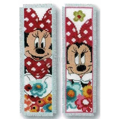 Borduurblad productfoto Set met 2 boekenleggers Minnie Mouse