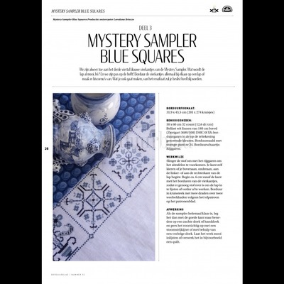 Borduurblad productfoto Patroon Mystery Sampler Blue Squares (Deel 3)