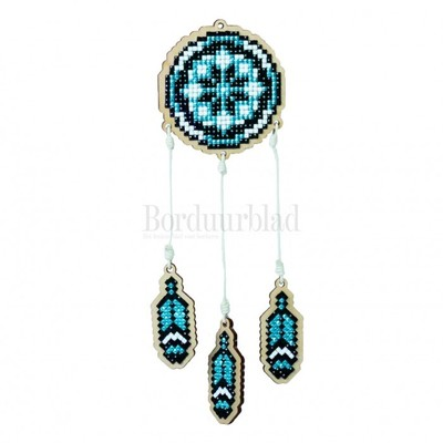Borduurblad productfoto Houten hanger -  Dreamcatcher Blue