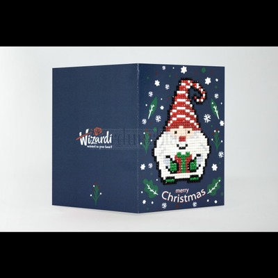 Borduurblad productfoto Diamond Painting kaart - Merry Christmas (Gnome) 2