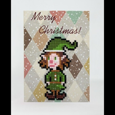 Borduurblad productfoto Diamond Painting kaart - Merry Christmas (Elf)