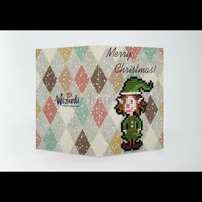 Borduurblad productfoto Diamond Painting kaart - Merry Christmas (Elf) 2