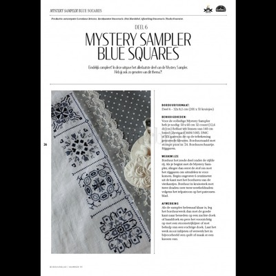 Borduurblad productfoto Patroon Mystery Sampler Blue Squares - deel 6
