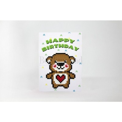 Borduurblad productfoto Diamond painting kaart 'Happy Birthday'