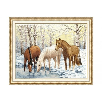 Borduurblad productfoto Borduurpakket Golden Fleece - 'Horses near the river'