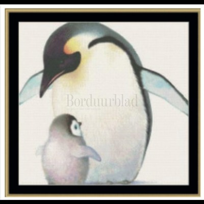 Borduurblad productfoto A mothers love collection - mama penquin & chick- patroon