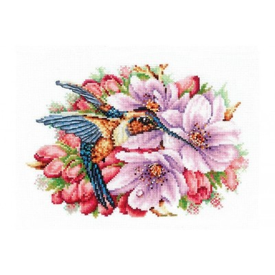Borduurblad productfoto Borduurpakket Andriana 'Hummingbird and flowers'