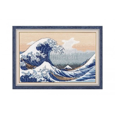 Borduurblad productfoto Borduurpakket Oven 'The Big Wave in Kanagawa'