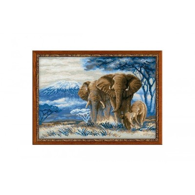 Borduurblad productfoto Borduurpakket Riolis 'Elephants in the Savannah'