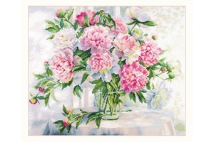 Borduurblad productfoto Borduurpakket Alisa 'Peonies by the Window'