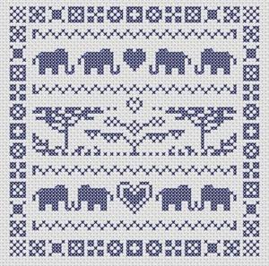 Borduurblad productfoto Patroon MK Design Art 'Elephant Sampler'