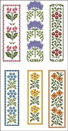 Borduurblad productfoto Patroon Pinoy Stitch 'Floral Bookmarks'
