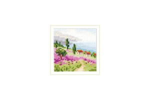 Borduurblad productfoto Borduurpakket Alisa 'Lavender at the Sea'
