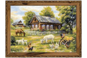 Borduurblad productfoto Borduurpakket Riolis 'Afternoon in the country'