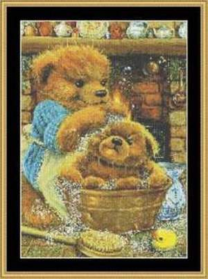 Borduurblad productfoto Patroon Mystic Stitch 'Mungo's Bathtime'
