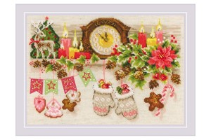 Borduurblad productfoto Borduurpakket Riolis 'Christmas Shelf'