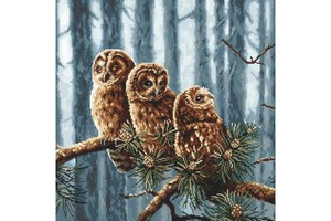 Borduurblad productfoto Borduurpakket Luca-S 'Owls Family'