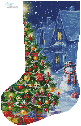 Borduurblad productfoto Patroon Artecy 'Snowman and Christmas Tree Stocking'