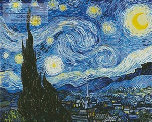 Borduurblad productfoto Patroon Artecy 'The Starry Night Blue' 2