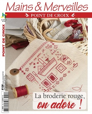Borduurblad productfoto Mains & Merveilles 'La broderie rouge, on adore! N°136'