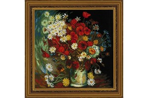 Borduurblad productfoto Borduurpakket Riolis 'Still life with meadow flowers and roses after Van Gogh's painting'