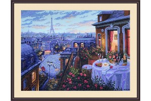 Borduurblad productfoto Borduurpakket Merejka 'Paris Evening' 2