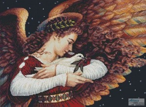 Borduurblad productfoto Patroon Artecy 'Mini The Angel and the Dove'