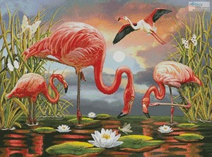Borduurblad productfoto Patroon Artecy 'Flamingos Painting'