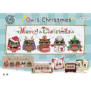 Borduurblad productfoto Soda Stitch patroon Owls Christmas