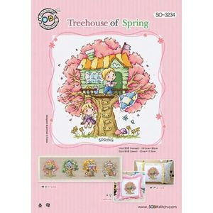 Borduurblad productfoto Soda Stitch patroon Treehouse of Spring