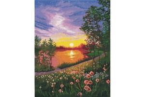 Borduurblad productfoto Borduurpakket Oven 'Summer Sunset'