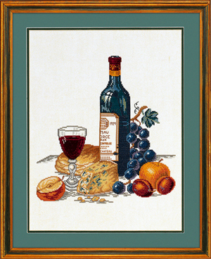 Borduurblad productfoto Borduurpakket Eva Rosenstand 'Cheese and Red Wine' 2