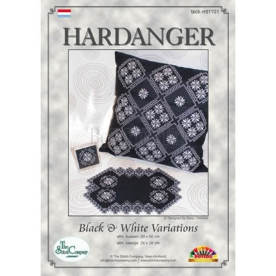 Borduurblad productfoto Hardanger patroon 'Black & White Variations'